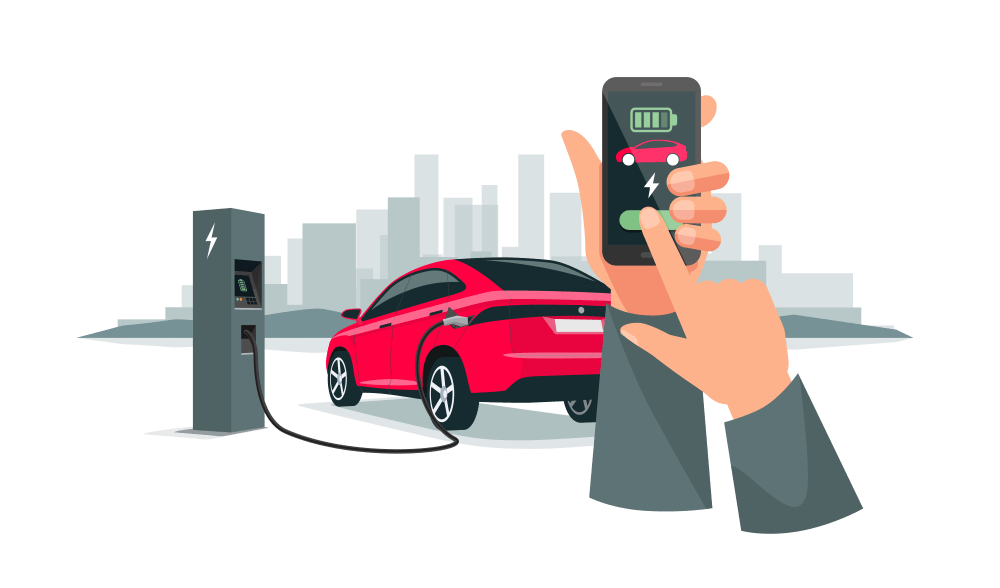 Eine App zeigt den Ladezustand des Elektrofahrzeuges, welches an einer Ladesäule lädt.