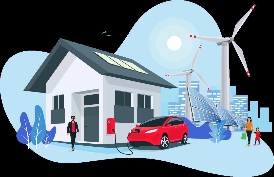 Ganzheitliches Konzept: Das Laden Ihres E-Fahrzeuges integriert sich in die ökologische Stromgewinnung und kann optimal mit einer PV-Anlage kombiniert werden.